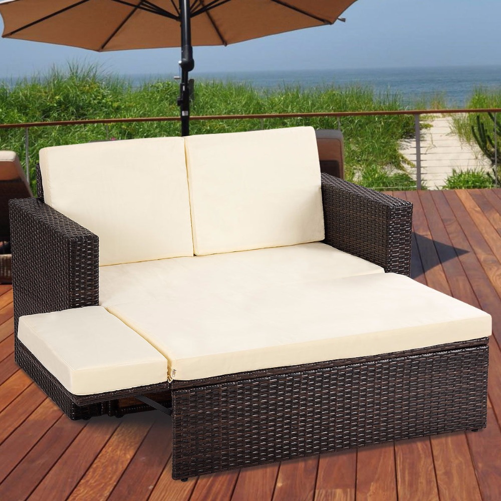 Giantex 2PCS Patio Rattan Loveseat Sofa Ottoman Daybed Garden Furniture Set W/Cushions Outdoor Furniture HW58604+