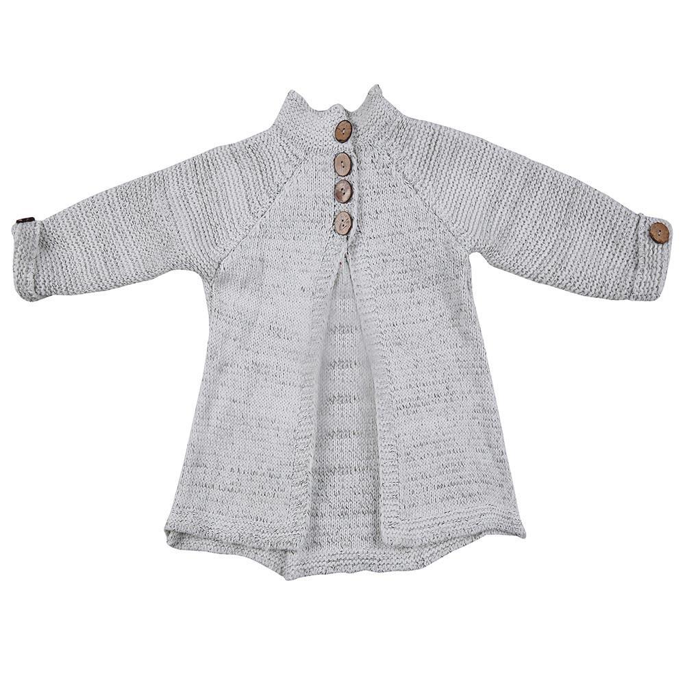 Одежда для маленьких девочек вязаный свитер с круглым вырезом и пуговицами, кардиган, Однотонное шерстяное осенне-зимнее пальто с открытым стежком, топы - Color: Beige