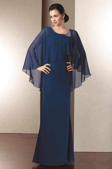 2017 Mãe Da Noiva Vestidos Bainha Até o Chão Azul Royal Chiffon Fatos de Calça Longa Noivas Vestidos de Mãe Para Casamentos