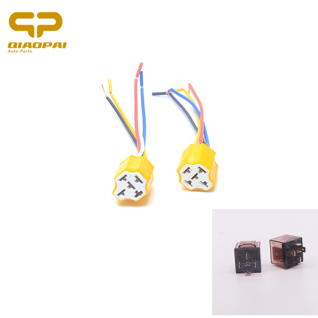 1 Pair 5pin General Ceramic Starter Relay Socket Plug Automotive
