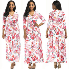цены New popular European and American fashion personality printing v-neck casual ethnic style sleeves belt female dress