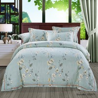 TUTUBIRD Blue Floral Vintage Style Luxury Soft Tencel Ramie Satin Silk Feeling Bedding Sets Bedlinen Sheets