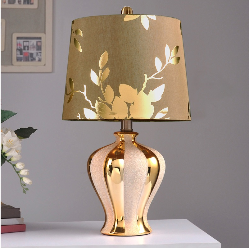 47.5cm Bronzing Bottle Lamp with Silver Grit Blasting Decor / Brown Silk Fabric Shade with Golden Linen цена