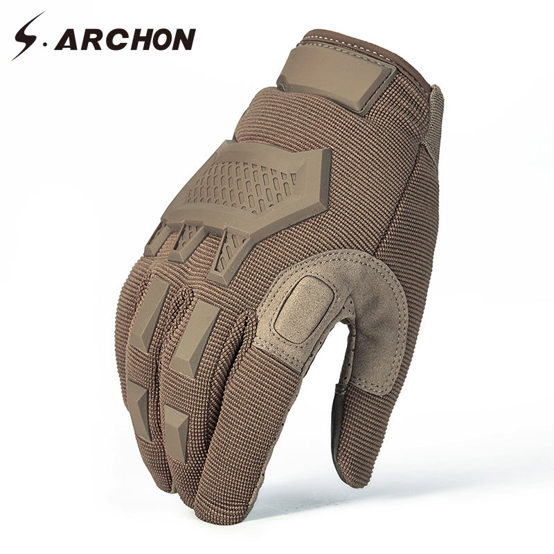 S.ARCHON Tactical Camouflage Gloves Men Winter Warm Full Finger Military Combat Mittens Paintball Airsoft Camo SWAT Army Gloves