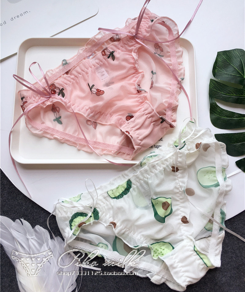 SP&CITY Korean Avocado Fruit Seamless Panties Women Sexy Underwear Micro Cute Ruffle Bows Briefs Girls Lingerie Lacing Up Thongs