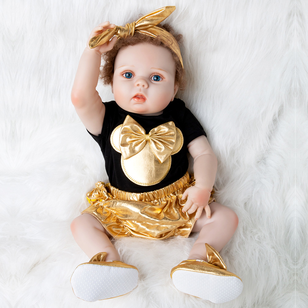 Gold Reborn Dolls Baby Toys Girl 55cm Doll Newborn Christmas Gifts & Clothing Sets Black Cotton Romper+Bloomers+Shoes+Headband