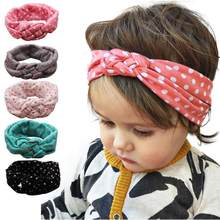 Cheapest Elastic Dot Cross Children Headband New Weave Twist Headband Baby Hair Accessories Girl for Hairstyles Tiare(China)