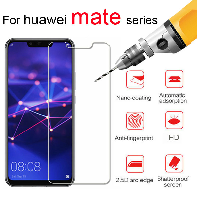 Protective glass on the for huawei mate 7 8 9 screen protector 10 pro 20 lite protection film huavei huawey tempered glas 2.5d(China)