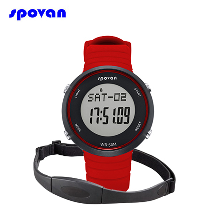 SPOVAN Wireless Pulse Heart Rate Monitor Watch Luxury LED Fitness Exercise Sport Digital Watch Clock Men Women W/Chest Strap multifunction pulse heart rate calorie wrist watch silver black
