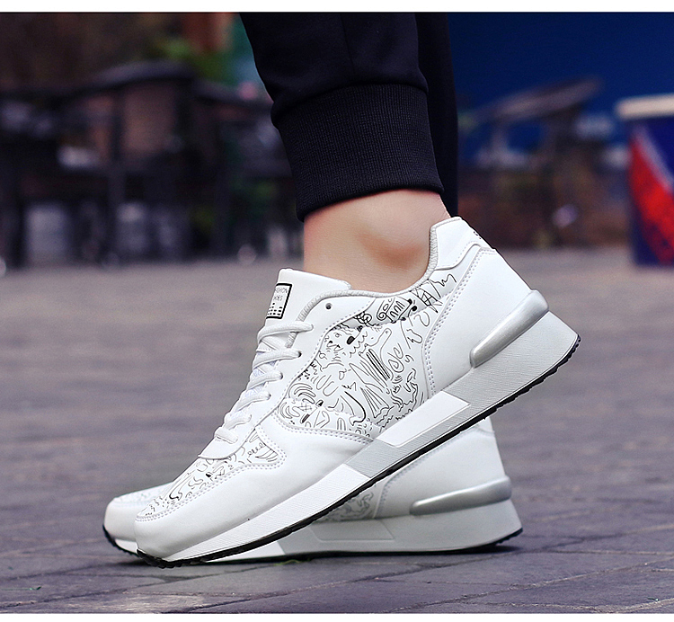 2017 Spring Graffiti Valentine Shoes Women Flat Heel Lace Up Leather Casual Shoes Plush Size 44 Low Top Sport Outdoor Shoes ZD43 (57)