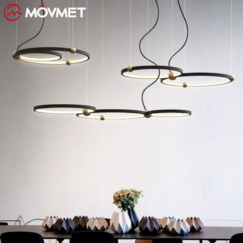 Postmodernistyczna luksusowe lampy wiszące krótkie 2019 nowy styl skandynawski Art hanglamp kreatywny pierścień salon lustre lampa wisząca