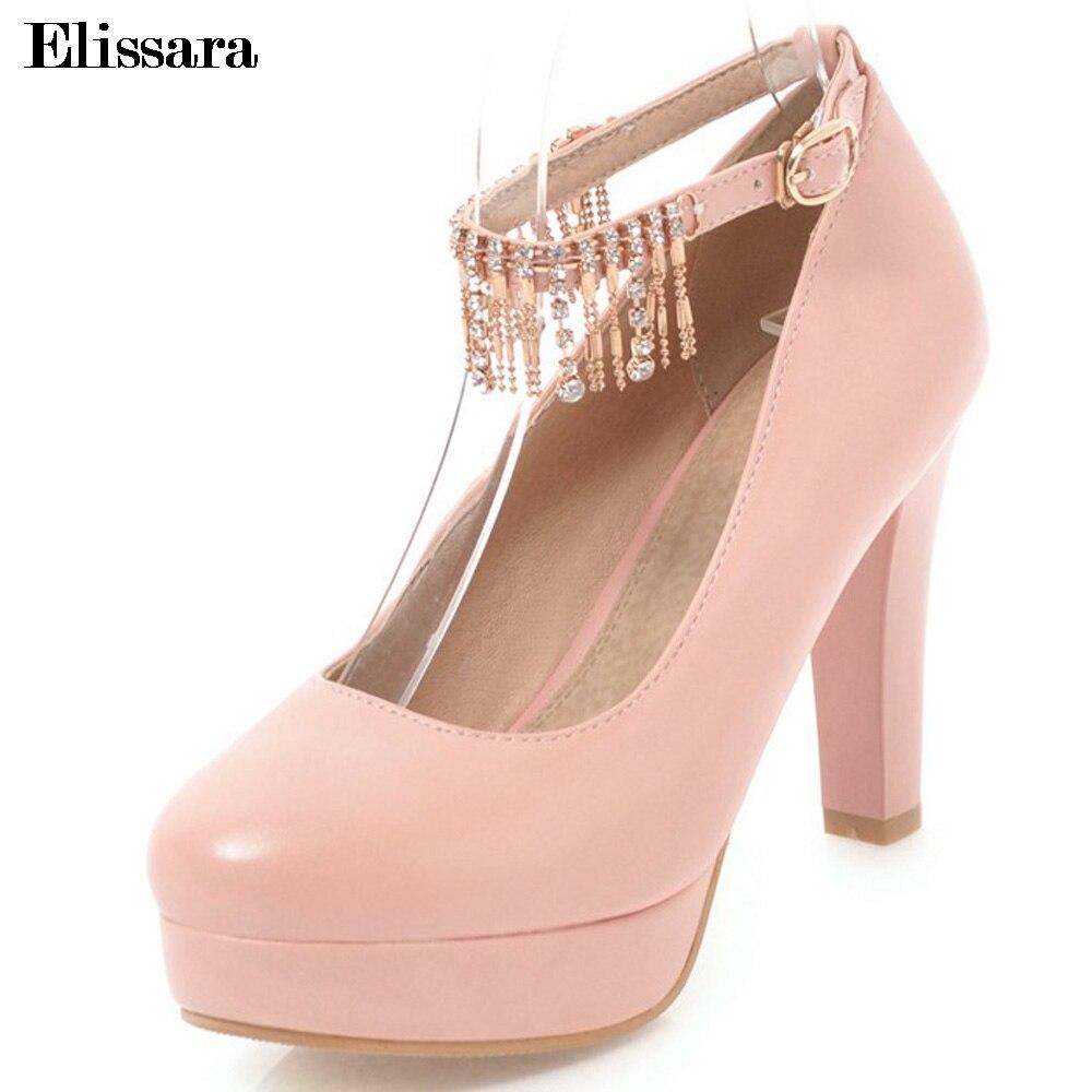 Женская свадебная обувь; туфли лодочки на высоком каблуке; женские пикантные туфли на платформе с круглым носком и ремешком на щиколотке; Цв... - 2