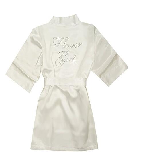 Fashion Kid Flower Girl Wedding Party Mini Bride Bridal Satin Solid Bath Robe Yukata Rayon Silk Sexy Sleepwear Children Dressin