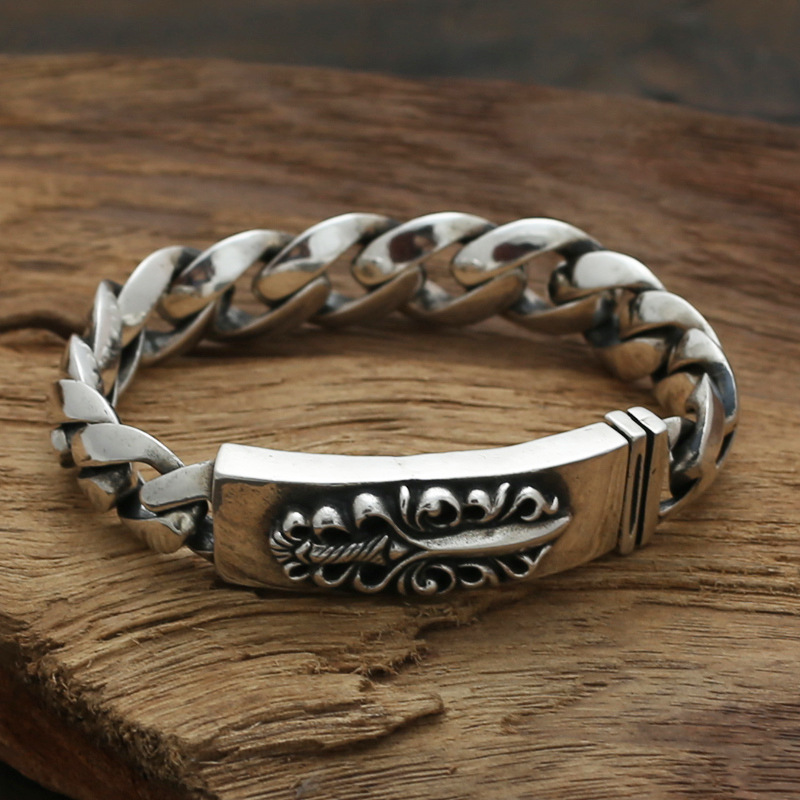 S925 Sterling Silver Jewelry Retro Men's Thai Silver Body Bravery Flame Sword Bracelet&Bracelet Homme