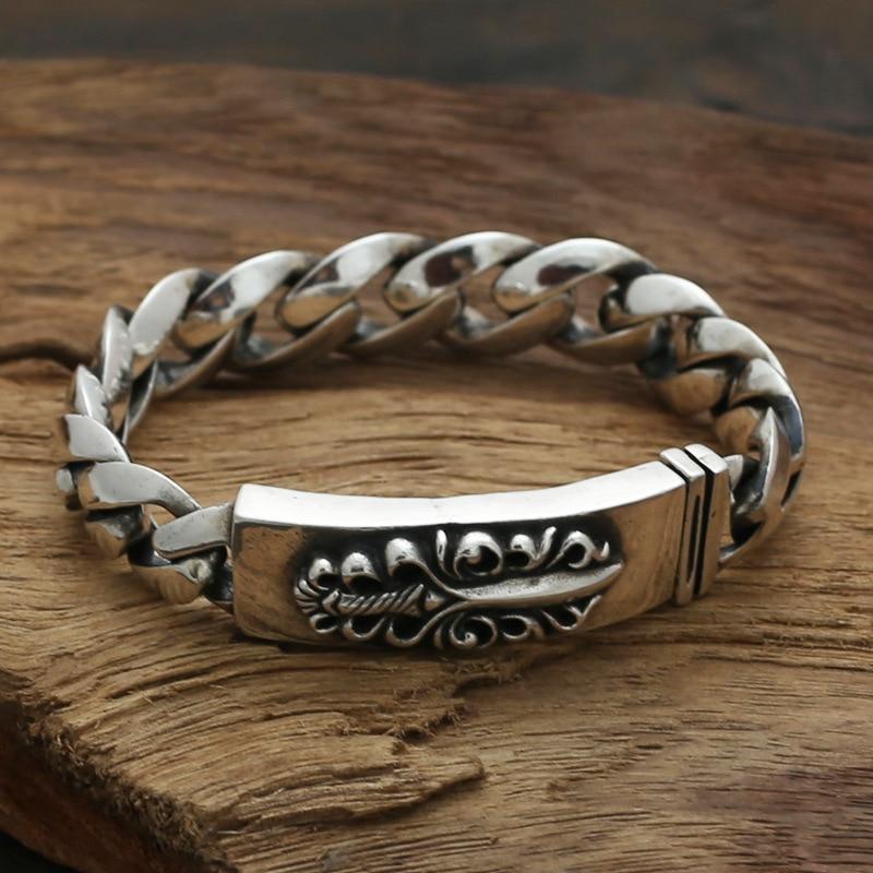 S925 Sterling Silver Jewelry Retro Men's Thai Silver Body Bravery Flame Sword Bracelet&Bracelet Homme