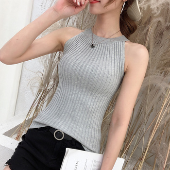 11242 Real-time photo of new round collar pure-color knitted suspender vest 15 2
