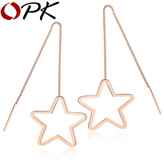 OPK Womens Drop Dangle Long Earrings Rose Gold Color Stainless