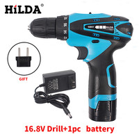 HILDA 16.8V Cordless Screwdriver Electric Drill Two Speed Rechargeable Waterproof Hand LED Light with 1pc Lithium Battery