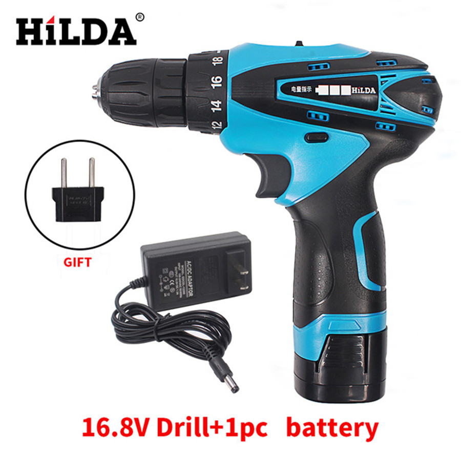 HILDA 16.8V Cordless Screwdriver Electric Drill Two-Speed Rechargeable Waterproof Hand LED Light with 1pc Lithium Battery dropshipping 4 8v electric screwdriver set multifunctional rechargeable hand drill household cordless drill with carry case