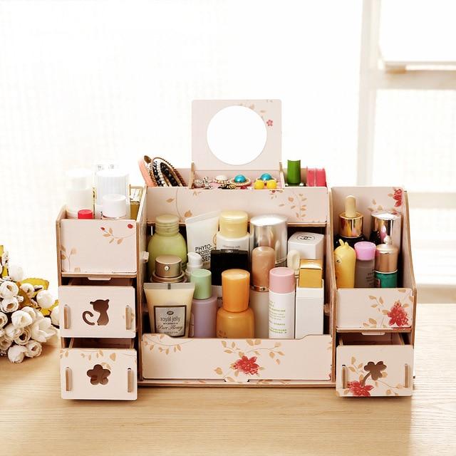 Genial Cute Cosmetic Organizer Storage Box Cabinet With Drawer Wood DIY Pen Table  Desktop Makeup Storage Organizer