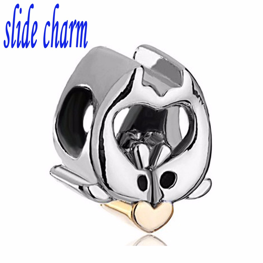 slide charm Free shipping Animal Cute Dolphin beads for jewelry Making Fit Pandora Charm Bracelets Pendants DIY Original Jewely
