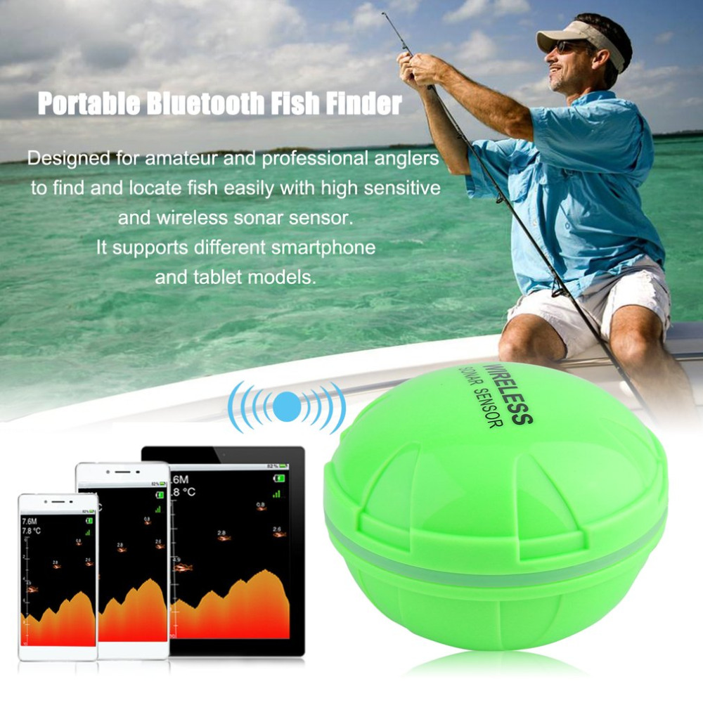 Portable Bluetooth Fish Finder Sea Fish Detect Device For IOS For Android 25M/80FT Sonar Fishfinder Wireless Fishing Detector lucky fishing sonar wireless wifi fish finder 50m130ft sea fish detect finder for ios android wi fi fish finder ff916
