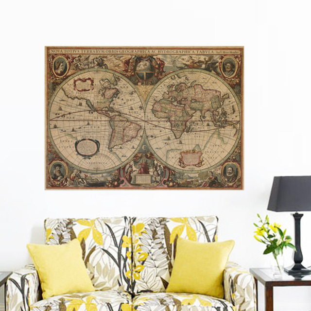 Vintage Nautical Retro Paper World Map Poster Wall Chart Home Decoration Stickers Mural Decals Globe Old Decor