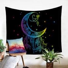Moon Accompanies, tapiz para colgar en la pared, bohemio, estampado colorido, colchas Vintage decorativas, sábanas bohemias