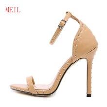Купить с кэшбэком Ladies Summer Shoes Women Rivet 11CM Fine High Heels Female 2019 Fashion Sexy Stiletto Sandals with T-Tai Catwalk Models Show