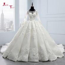 2020 חדש הגעה Bruidsjurken ארוך שרוול כדור שמלת חתונת שמלות Robe דה Mariee Princesse de Luxe 3D פרחים Hochzeit