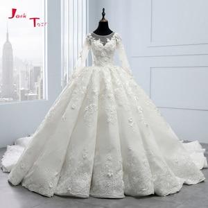 Image 1 - 2020 New Arrival Bruidsjurken suknie ślubne z długim rękawem suknia ślubna szata de Mariee Princesse de Luxe 3D kwiaty Hochzeit