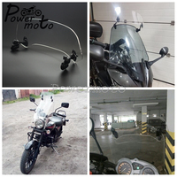 Motorcycle Universal Airflow Adjustable Clear 280/210mm Windshield Extension Spoiler Screen Air Deflector For Honda BMW Scooter