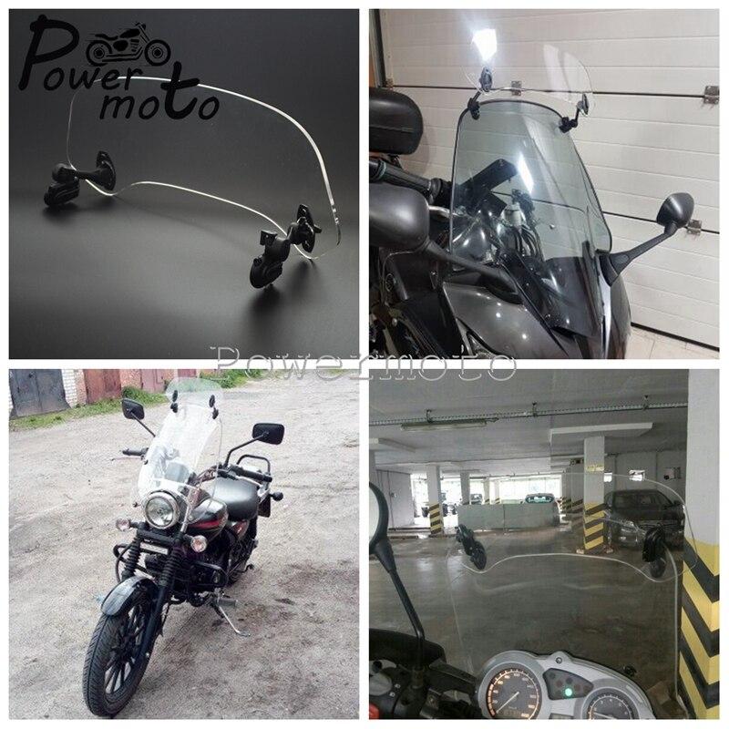 Motorrad Universal Airflow Einstellbare Klar 280/210mm Windschutzscheibe Verlängerung Spoiler Bildschirm Air Deflektor Für Honda Bmw Roller Eine VollstäNdige Palette Von Spezifikationen