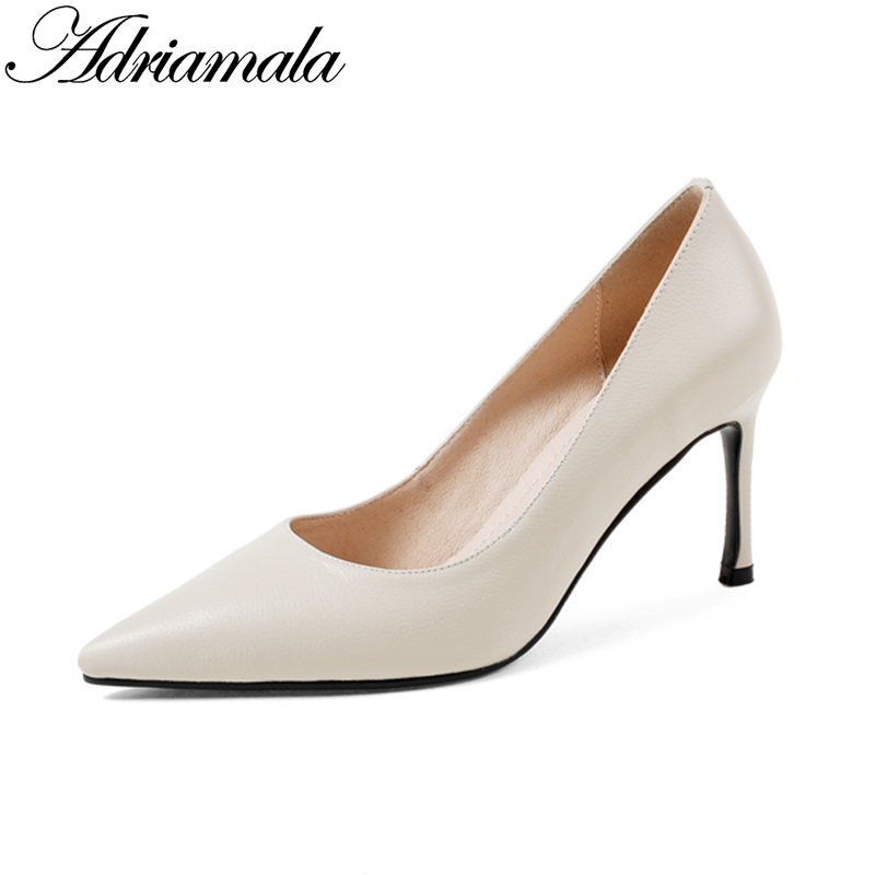2018 Genuine Leather Pointed Toe High Heels Ladies Office Shoes Brand Designer Slip-on Fashion Thin Heels Women Pumps Adriamala lady glitter high fashion designer brand bow soft flock plus size 43 leisure pointed toe flats square heels single shoes slip on