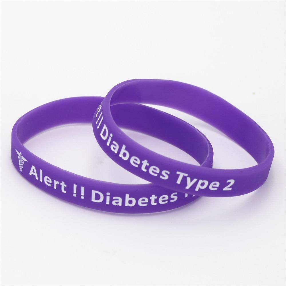 6d0787318818 1 unid Alerta Médica Diabetes tipo 2 dependiente de la insulina de silicona  pulsera brazalete enfermera diabético pulseras brazaletes regalos SH138 en  ...