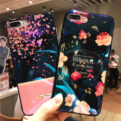 SHUOHU Blue Ray Cases For iPhone 6 7 8 Plus Shinny Mirror Soft Silicon Case For iPhone 6S X 17 Patterns