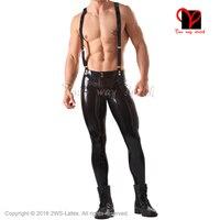 Sexy Latex leggings with adjustable Braces Rubber Pants garter belts Suspenders Trousers bottoms jeans plus size XXXL KZ 087