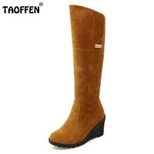 Mulheres Rodada Toe Wedge Salto Alto Joelho Botas de Camurça De Couro De Pele Quente Bota Cavaleiro Sapatos de Salto Mulher Botas Feminina Tamanho 34-43