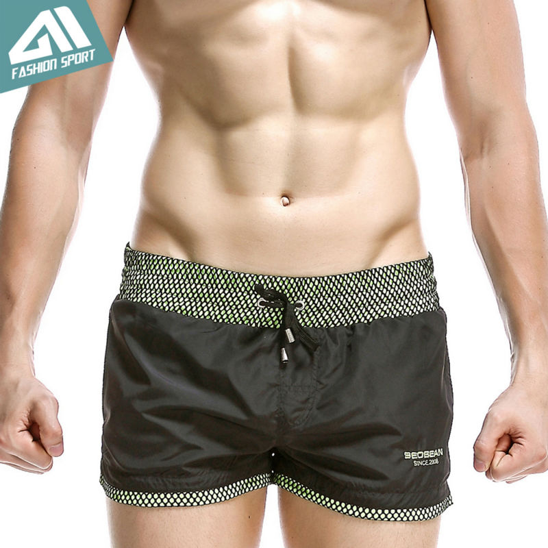 Seobean Summer Beach Men's Board Shorts Leisure Sport Running Workout Shorts New Fast Dry Sea Surf Lining Liner Men Shorts SE70