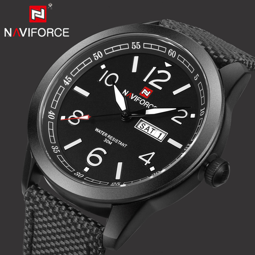 NAVIFORCE Top Brand Luxury Quartz Men Watches Army Military Men's Clock Male Nylon Sports Watch Relogio Masculino reloj hombre weide new men quartz casual watch army military sports watch waterproof back light men watches alarm clock multiple time zone