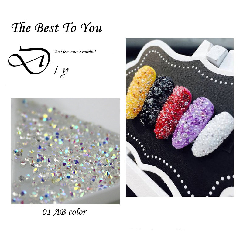 Wholesale 1440Pcs Tiny Mini Nails Rhinestone Micro Diamond 3D Nail Art Glitter Rhinestones Decorations Crystal Pixie Accessories 1440pcs 1 1mm crystal clear glass nail art rhinestones micro rhinestones mini nail art micro pixie manicure decorations