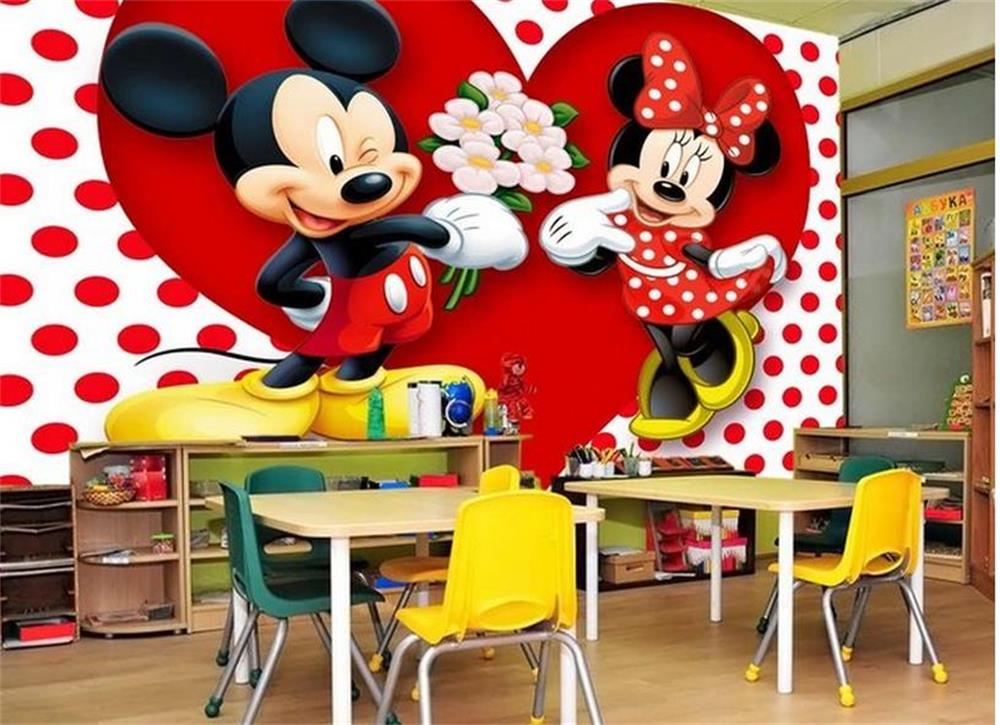 Custom 3D Photo Wallpaper Kids Room Mural Two Lovable Mickey Mouse 3D Painting Photo Wall Mural Wallpaper Non-Woven Wall Sticker