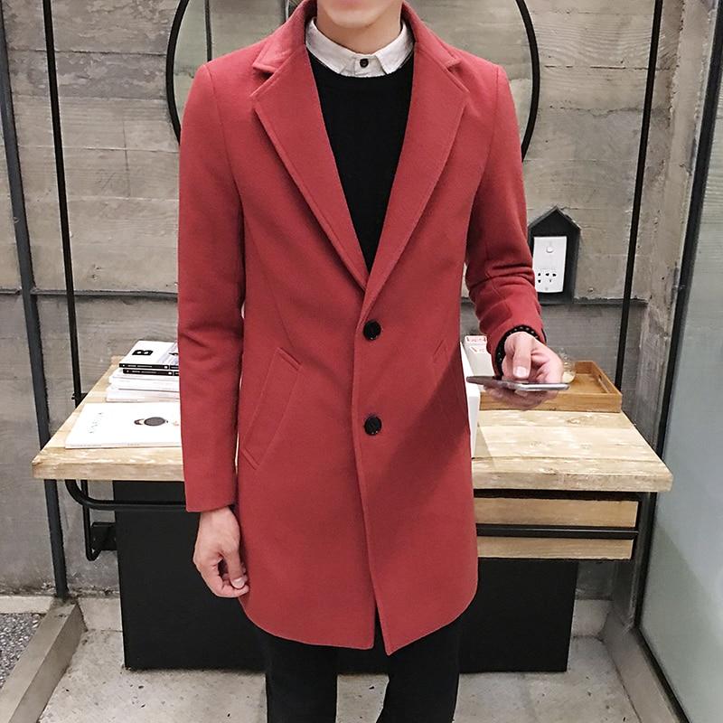 2017 Vinter män i långa täcker Slim Woolen Coat, England Style - Herrkläder - Foto 5