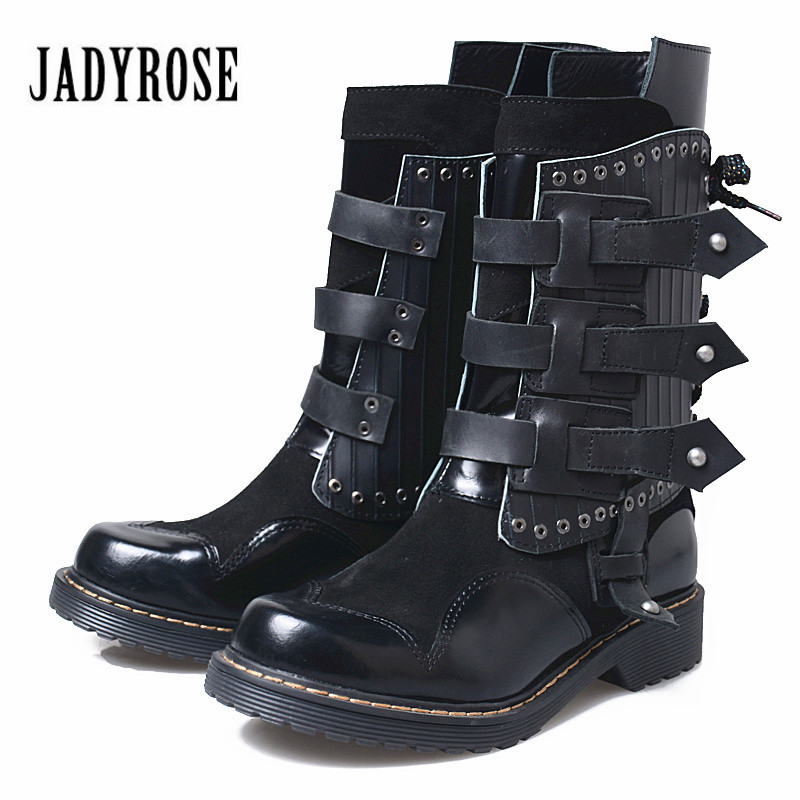 Jady Rose 2018 New Genuine Leather Martin Boots Belt Buckle Women High Boot Rivet Studded Flat Botas Mujer Platform Shoes Woman cupless buckle rivet leather corset