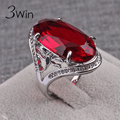 WinWinWin Creative Big Crystal Ring for Women Auger Black Zircon Agate Rings Vintage Red Fashion Gifts Personality Finger Rings