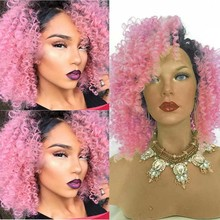 Ombre Pink Curly Synthetic Lace Front Wigs for Women Black to pink Kinky Curly Heat Resistant Lace Front Synthetic Wig cacheado