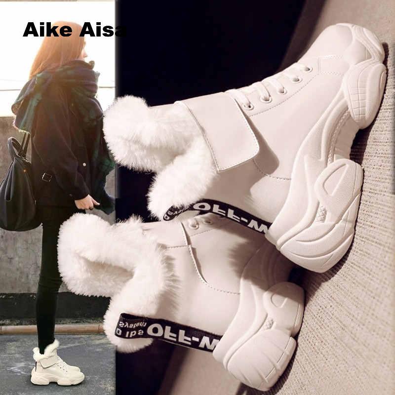 Plataforma Mujer Femenina Zapatos black Invierno Para Mujeres Beige Deporte Tobillo Caliente Mantener 2019 De Botas Zapatillas Alta 1Bq6wTFnX
