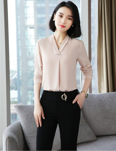 f7923244490e1 2018 New Styles Formal Pantsuits With 2 Piece Pants and Tops Sets Blouses   Shirts  For Women Business Work Wear Pants Suits
