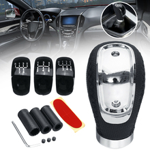 Mayitr 1pc Genuine Leather 5 6 Speed Gearstick Universal Manual Car Gear Stick Shift Knob+ 3 Caps for Interior Parts