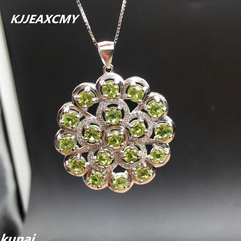KJJEAXCMY Fine jewelry Colorful jewelry 925 silver inlaid NATURAL PERIDOT pendants, ladies generous wholesale kjjeaxcmy fine jewelry 925 sterling silver inlaid natural amethyst ring wholesale opening ladies adjustable support testing